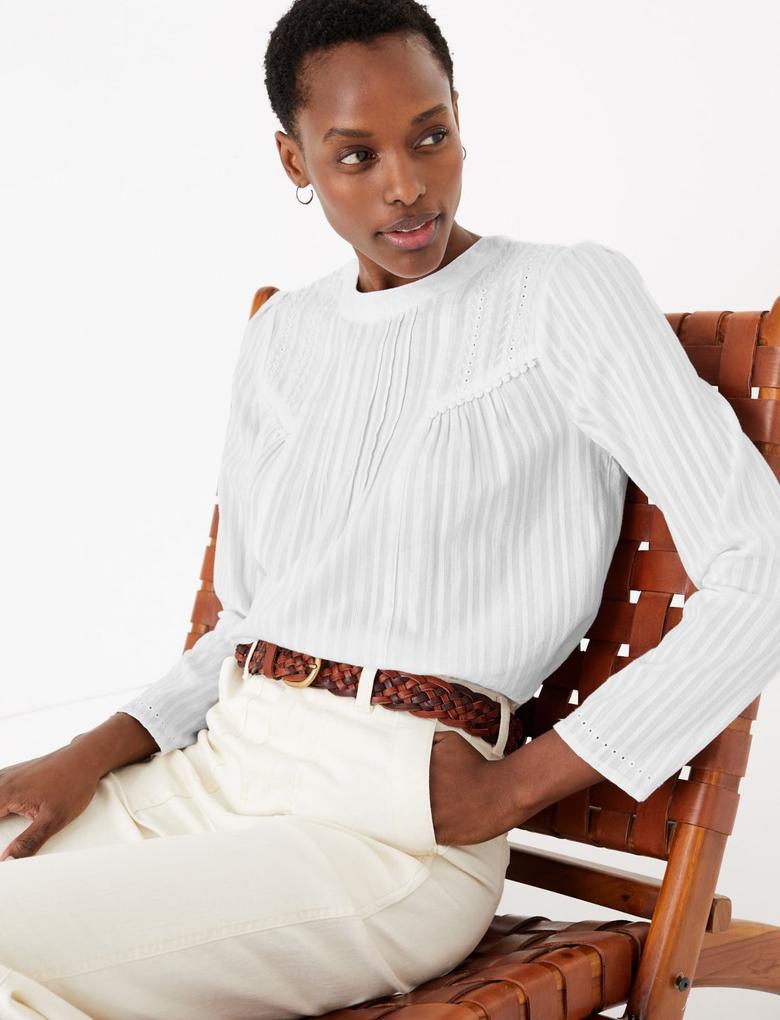Kadın Beyaz Çizgili Saf Pamuklu Bluz