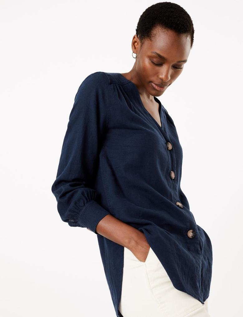 Kadın Lacivert V Yaka Keten Bluz