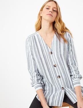 Kadın Lacivert Çizgili Keten Bluz
