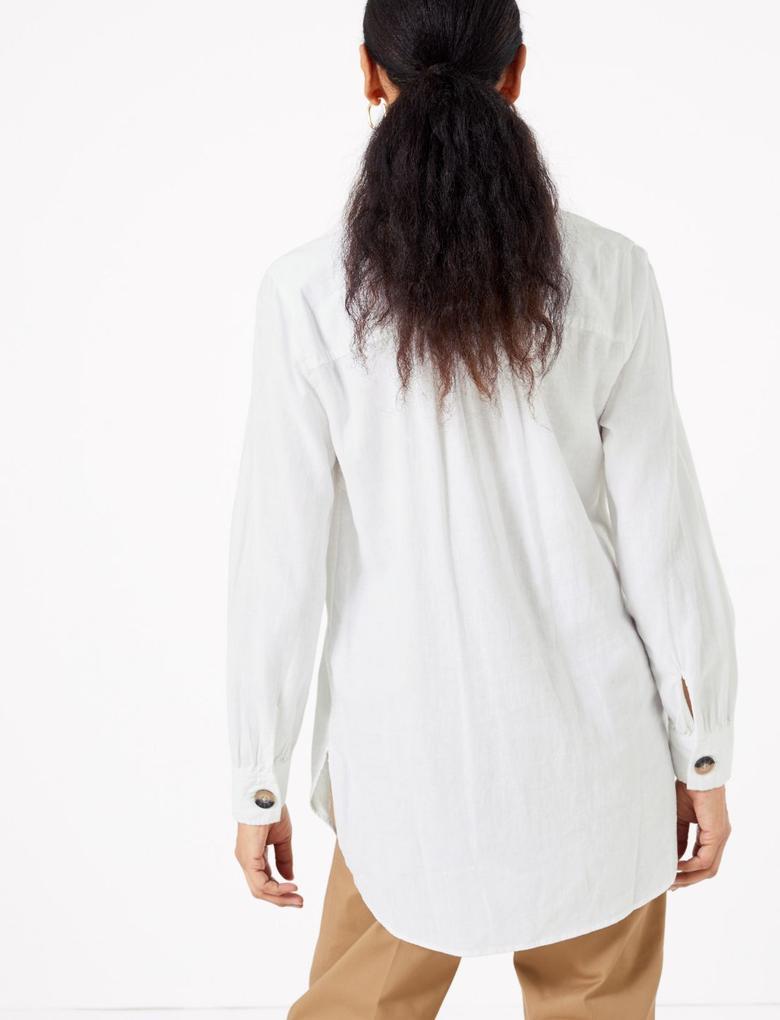 Kadın Beyaz V Yaka Keten Bluz