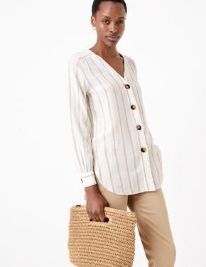 Kadın Beyaz Çizgili Keten Bluz