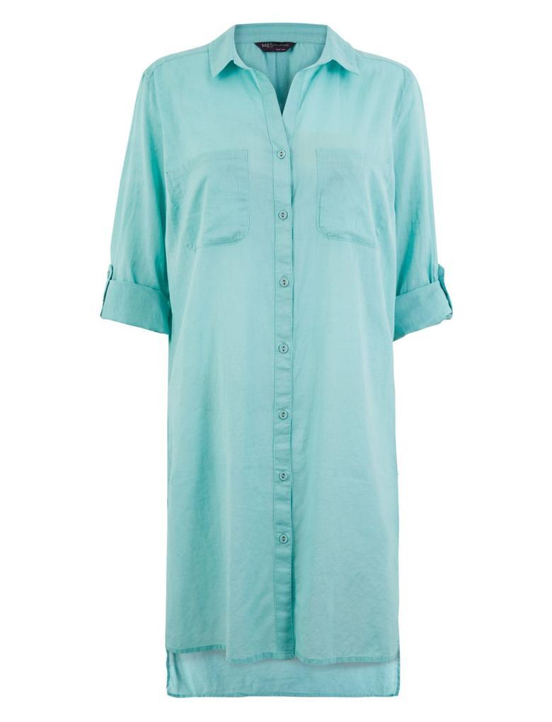 Kadın Turkuaz Saf Pamuklu Gömlek Plaj Elbisesi