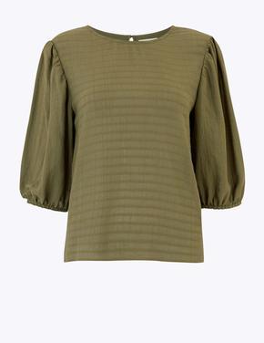 Yeşil Çizgili Uzun Kollu Bluz