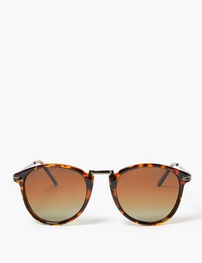 Erkek Kahverengi Polarize Yuvarlak Camlı Güneş Gözlüğü
