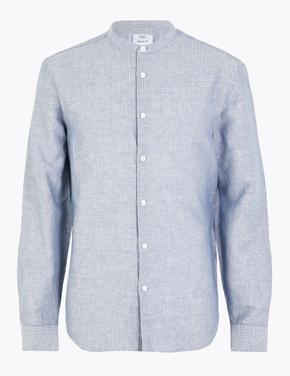 Erkek Mavi Keten Karışımlı Hakim Yakalı Gömlek