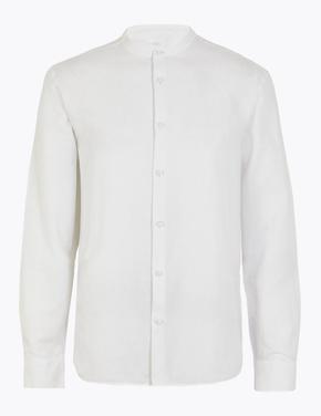 Erkek Beyaz Keten Karışımlı Hakim Yakalı Gömlek