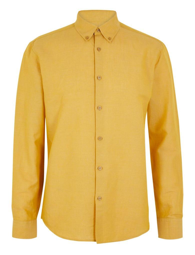 Erkek Sarı Keten Karışımlı Kolay Ütülenebilir Gömlek