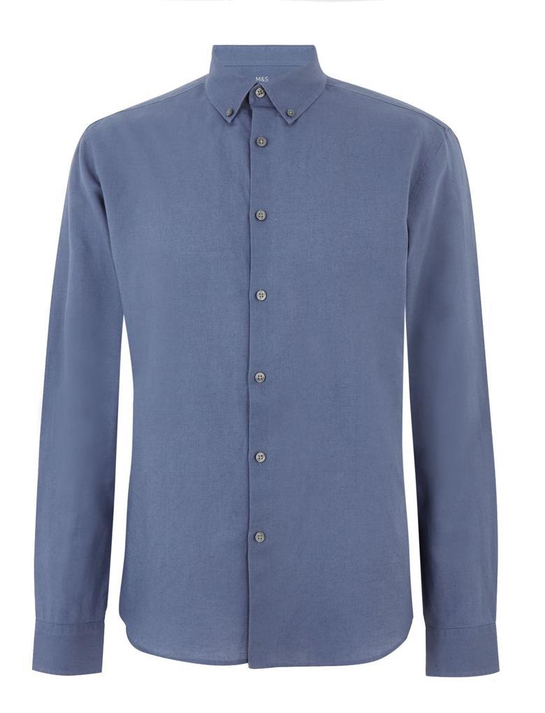 Erkek Mavi Keten Karışımlı Kolay Ütülenebilir Gömlek