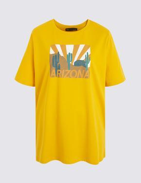 Kadın Sarı Kısa Kollu T-Shirt