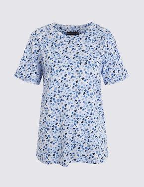 Kadın Mavi Çiçek Desenli T-Shirt
