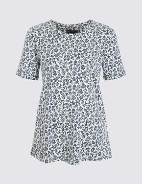 Kadın Bej Çiçek Desenli T-Shirt