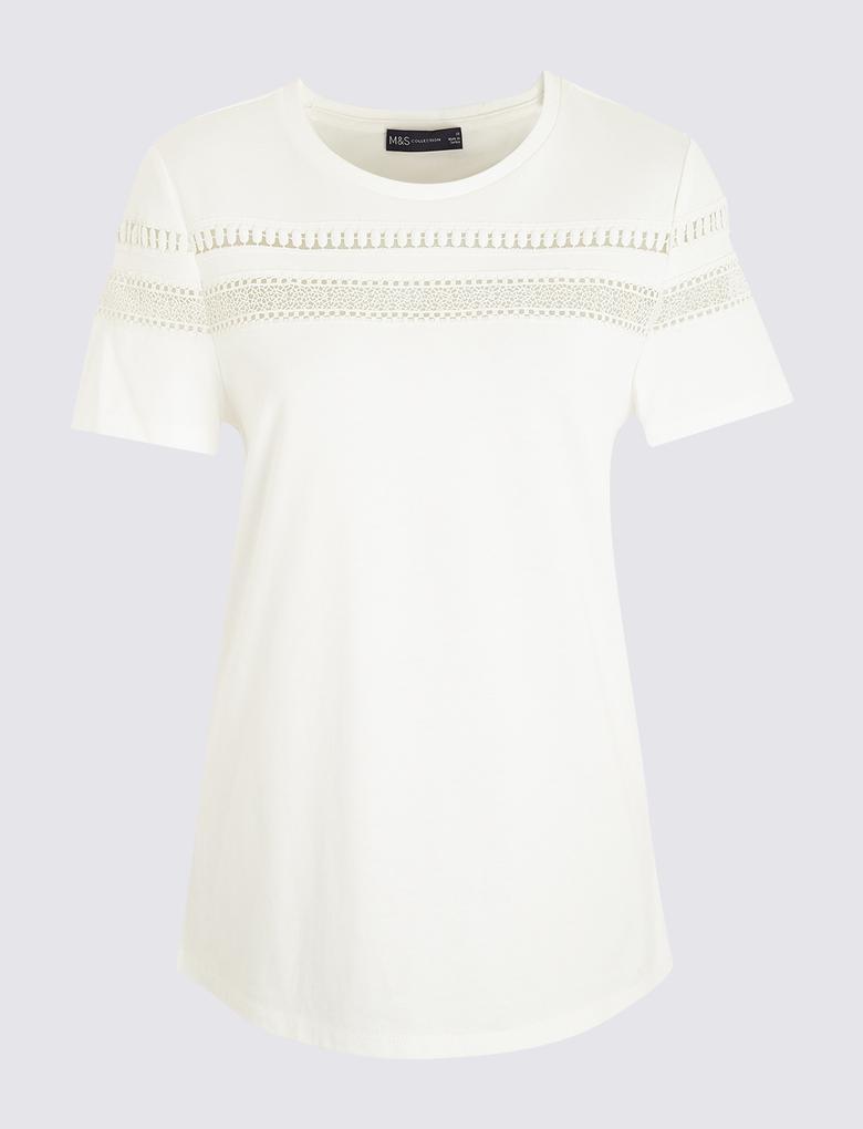Kadın Beyaz Dantel Detaylı T-Shirt