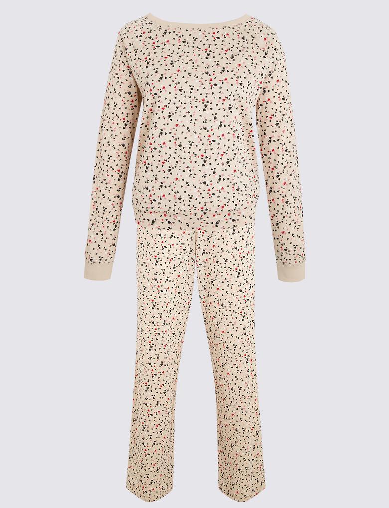 Kadın Pembe Desenli Uzun Kollu Pijama Takımı