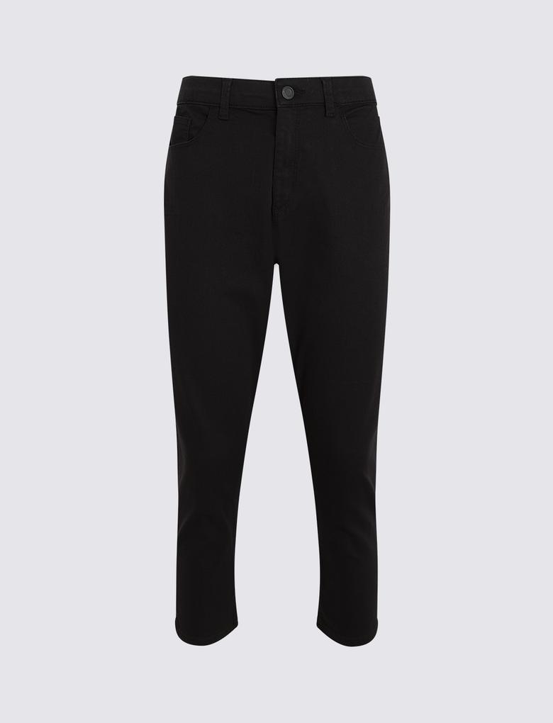 Kadın Siyah Orta Belli Super Skinny Leg Kısa Jean Pantolon