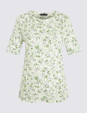Kadın Beyaz Desenli Yuvarlak Yaka T-Shirt