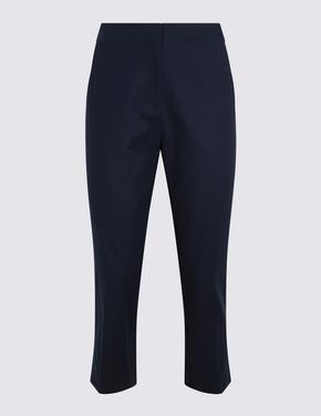 Kadın Lacivert Pamuklu Crop Pantolon
