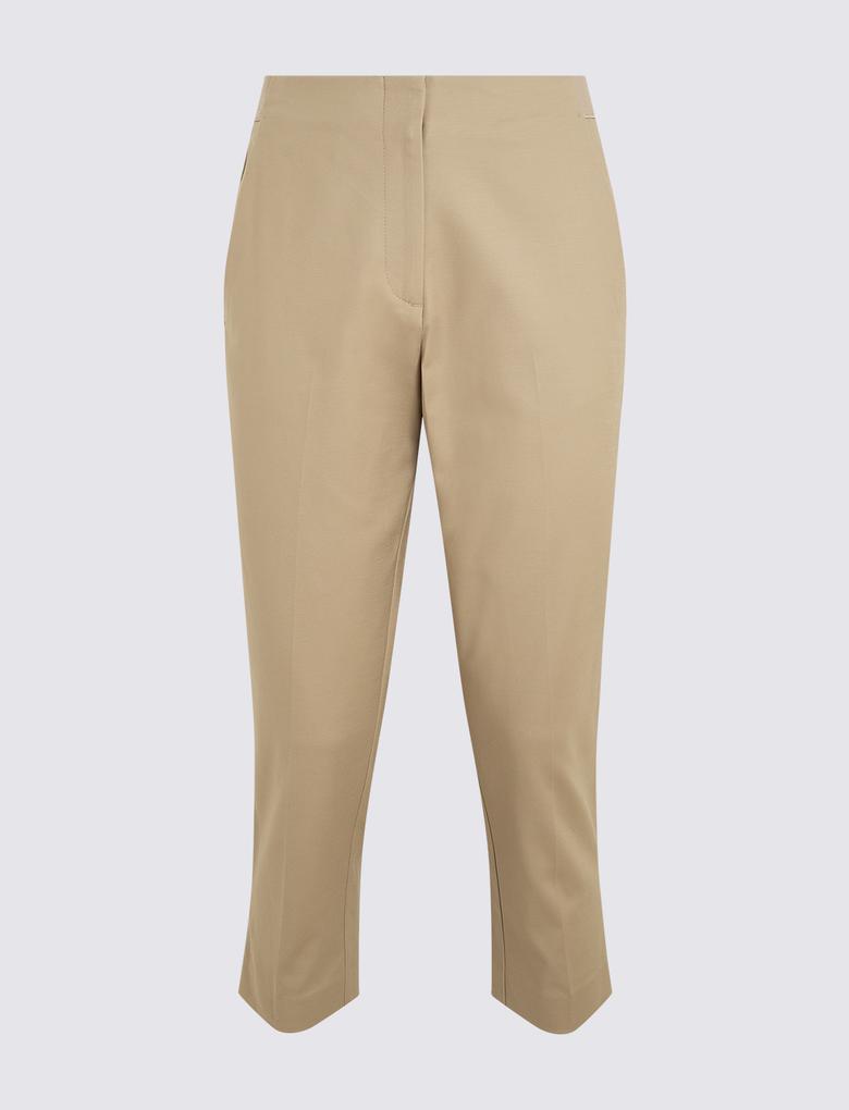 Kadın Kahverengi Pamuklu Crop Pantolon