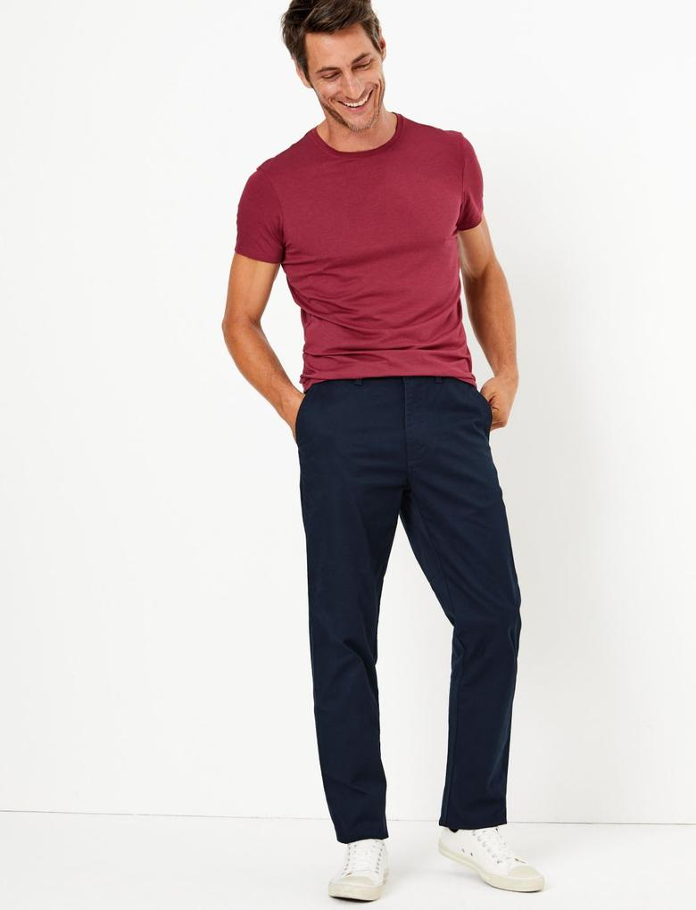 Erkek Lacivert Regular Fit Chino Pantolon
