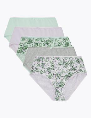 Kadın Yeşil 5'li Çiçek Desenli Midi Külot Seti
