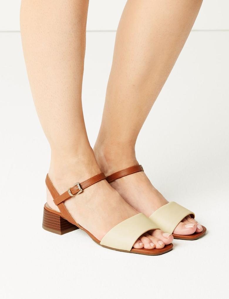 Bej Bilekten Bağlamalı Topuklu Sandalet