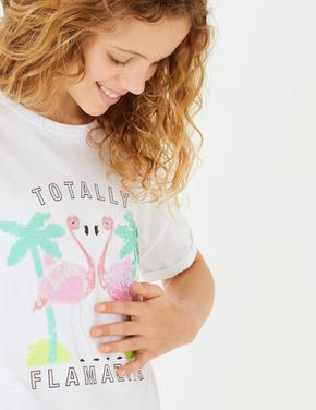 Kız Çocuk Beyaz Pullu Flamingo Desenli T-Shirt