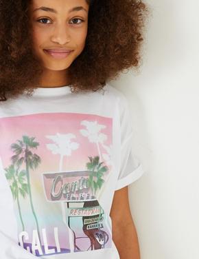 Kız Çocuk Beyaz Desenli Kısa Kollu T-Shirt