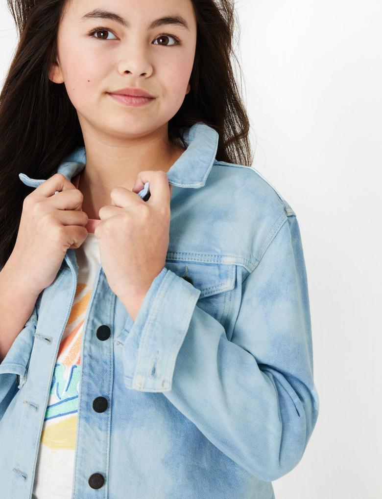 Kız Çocuk Mavi Denim Ceket