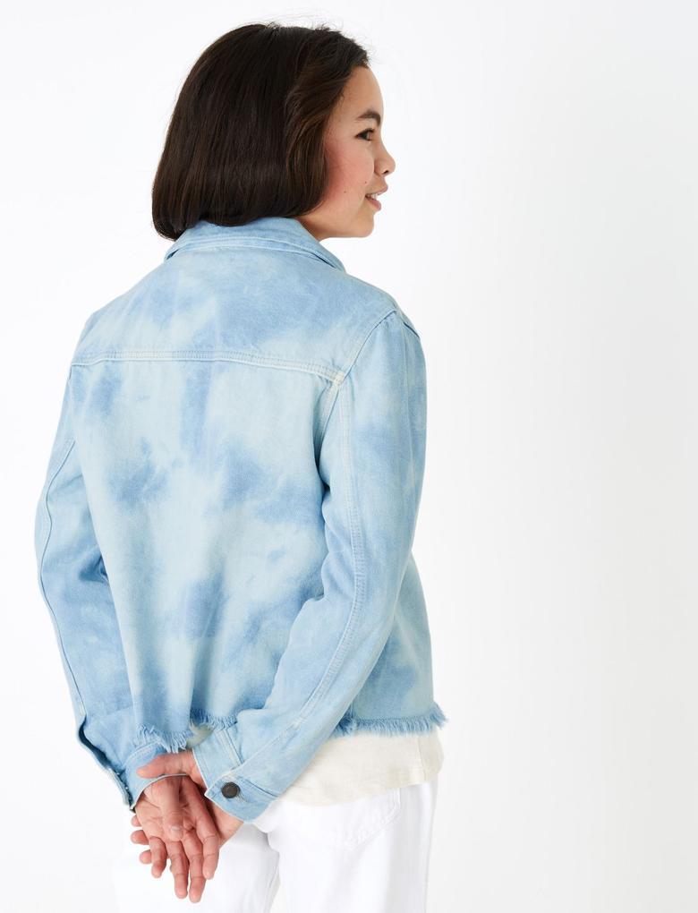 Kız Çocuk Mavi Batik Desenli Crop Denim Ceket