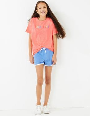 Kız Çocuk Mavi Bağcıklı Jarse Şort