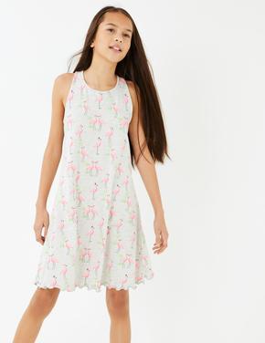 Kız Çocuk Gri Flamingo Desenli Elbise
