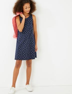 Kız Çocuk Lacivert Flamingo Desenli Elbise