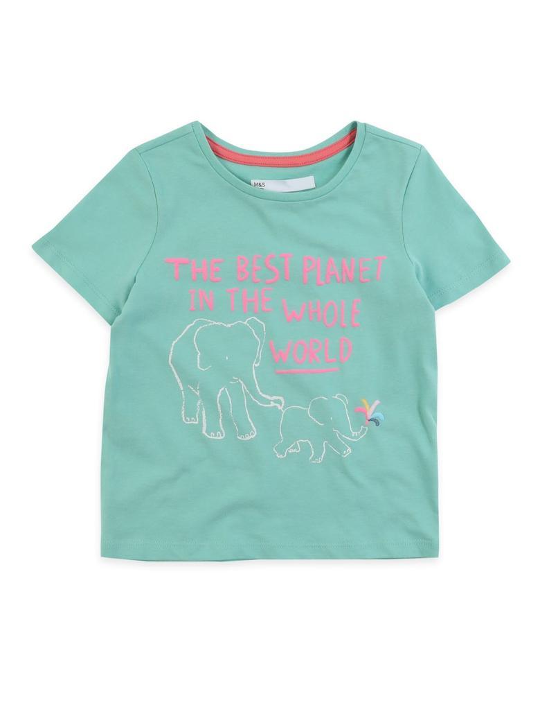 Kız Çocuk Turkuaz Fil Desenli T-Shirt