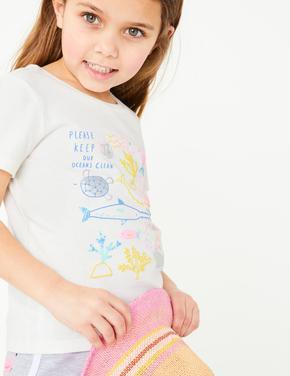 Kız Çocuk Beyaz Kısa Kollu Desenli T-Shirt