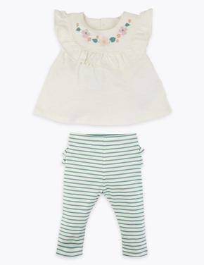 Bebek Yeşil Çiçek İşlemeli Üst ve Alt Takım