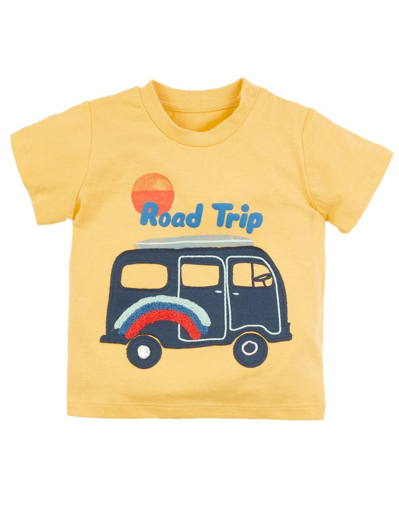 Bebek Sarı Dinozor Desenli Kısa Kollu T-Shirt