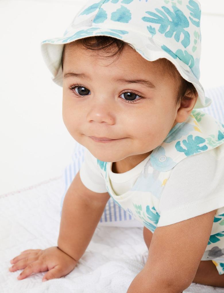 Bebek Yeşil Desenli Body Tulum ve Şapka Seti