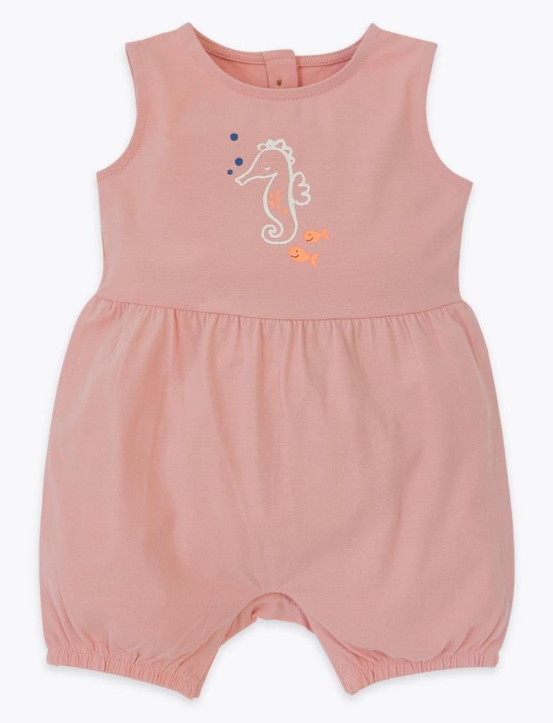 Bebek Pembe Kolsuz Desenli Tulum