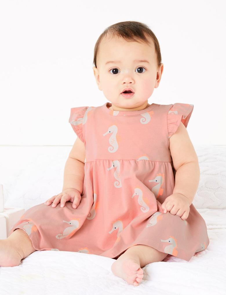 Bebek Pembe Kısa Kollu Desenli Elbise
