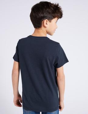 Erkek Çocuk Lacivert Kısa Kollu Cep Detaylı T-Shirt