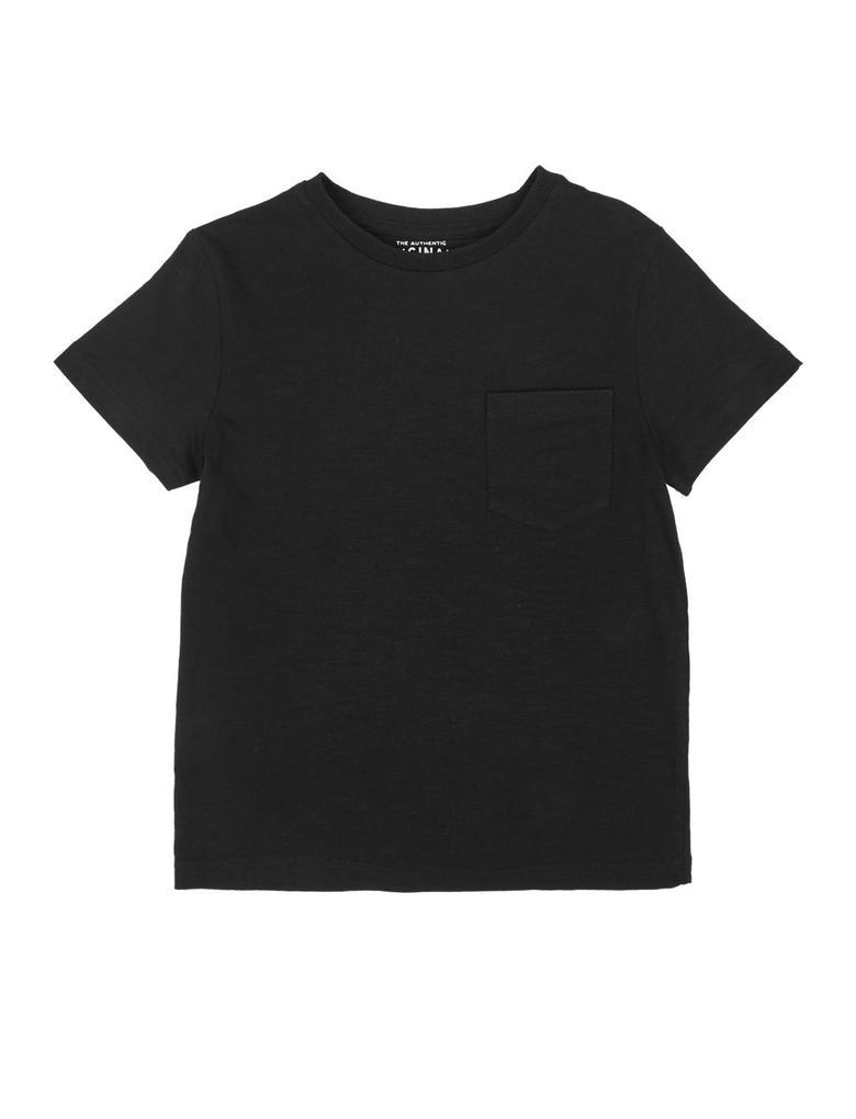 Erkek Çocuk Siyah Kısa Kollu Cep Detaylı T-Shirt
