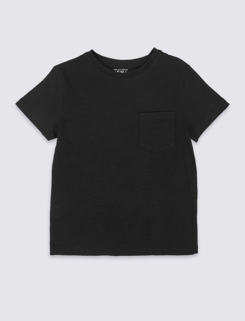 Erkek Çocuk Siyah Saf Pamuklu Kısa Kollu T-Shirt