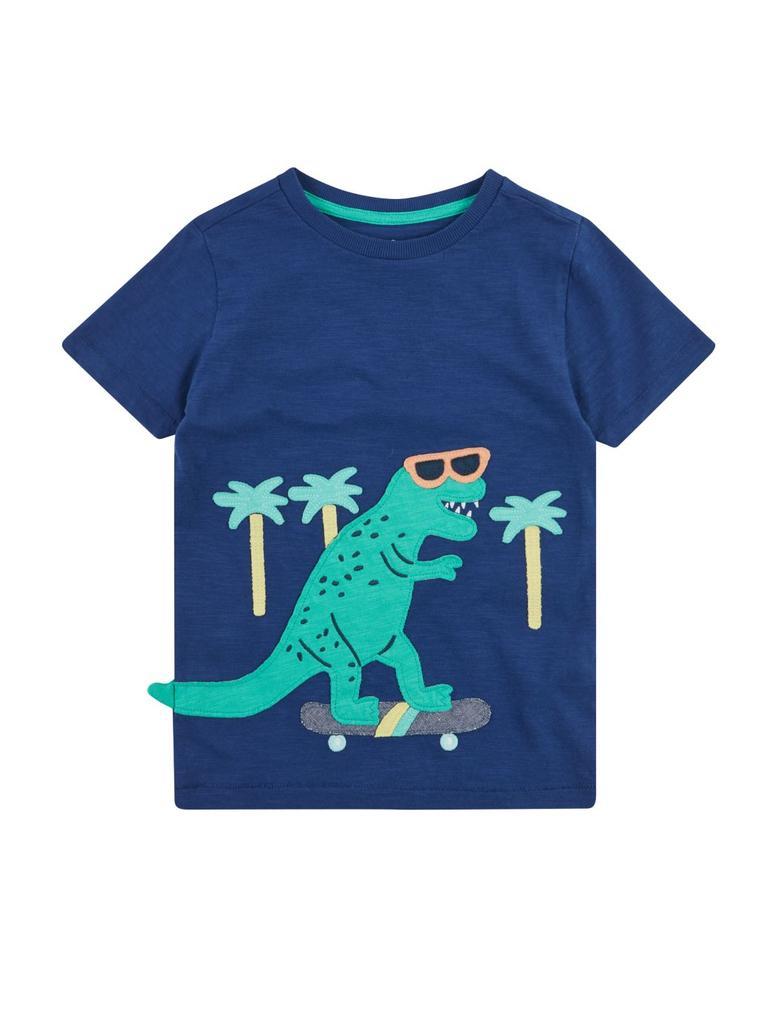 Erkek Çocuk Mavi Dinozor Desenli T-Shirt