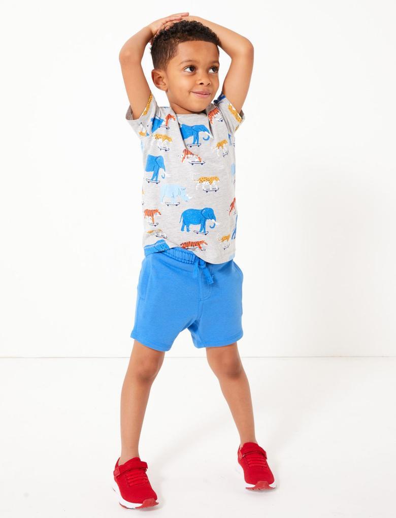 Erkek Çocuk Mavi Bağcıklı Jarse Şort