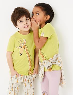 Erkek Çocuk Sarı Roald Dahl™ & NHM™ Zürafa Desenli T-Shirt