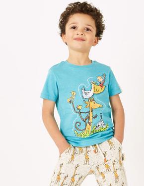 Erkek Çocuk Mavi Roald Dahl™ & NHM™ Desenli T-Shirt