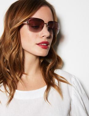 Kadın Pembe Çerçevesiz Güneş Gözlüğü