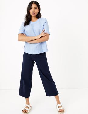 Kadın Mavi Düğme Detaylı Keten Bluz