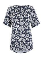 Kadın Koyu lacivert Çiçek Desenli Kısa Kollu Bluz