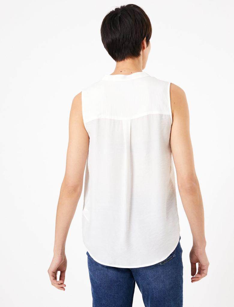 Kadın Beyaz V Yaka Bluz