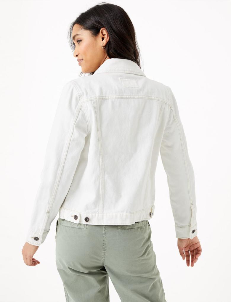 Kadın Krem Düğme Detaylı Denim Ceket